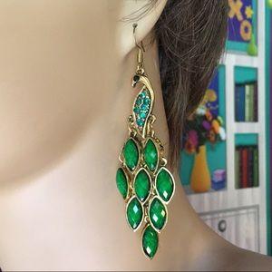 Green Peacock Earrings
